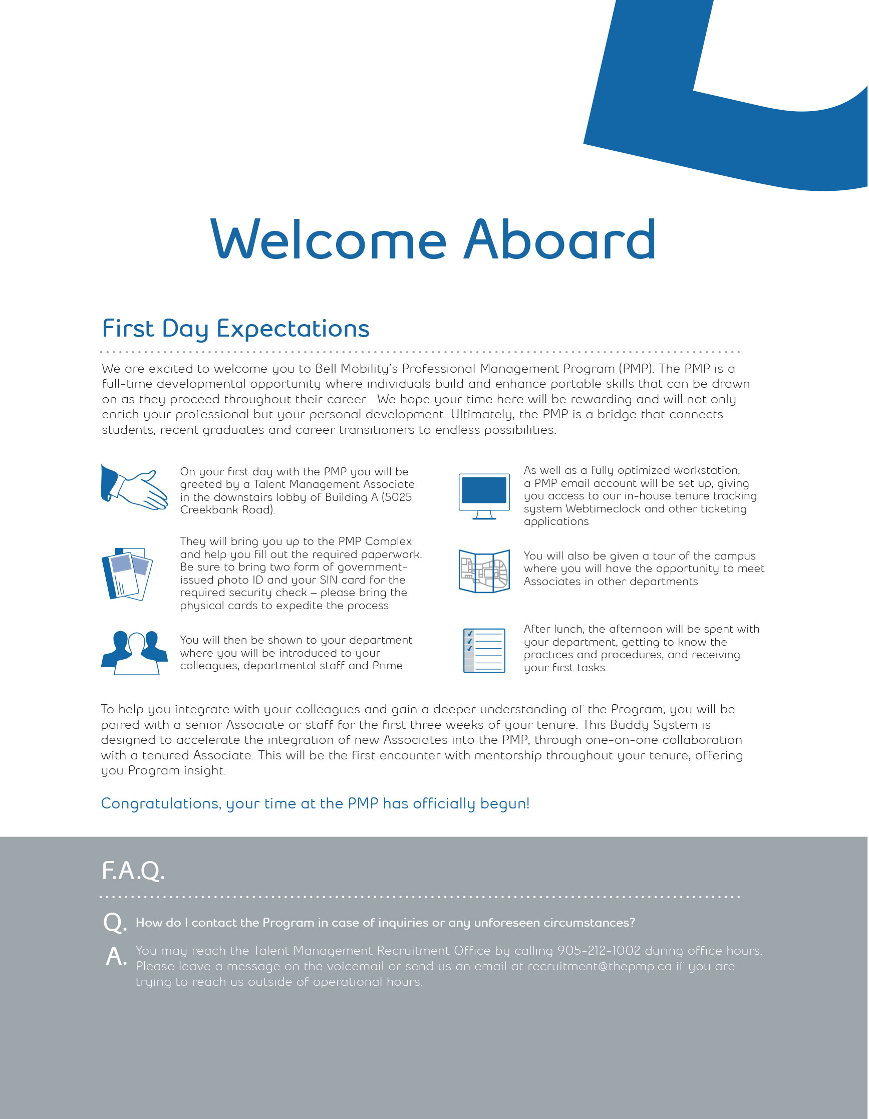Orientation Manual Welcome page