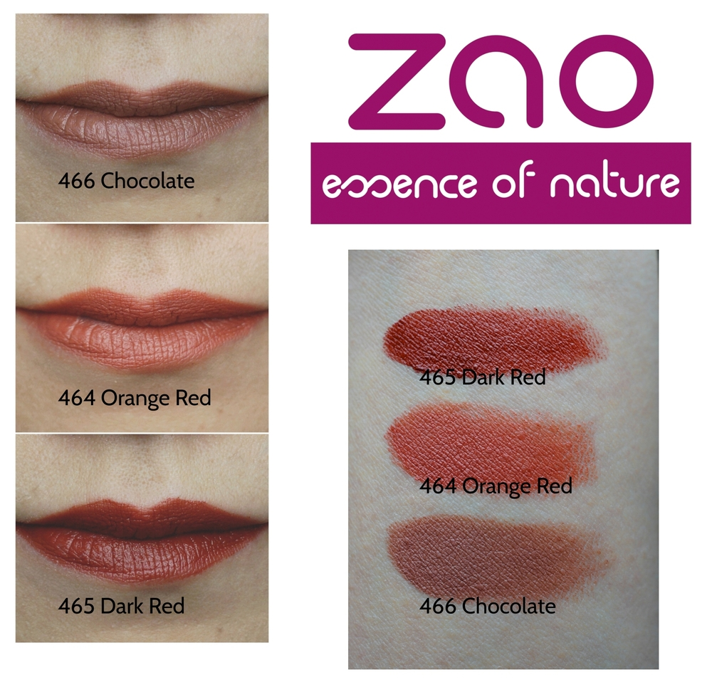 Zao Lipstick Chocolate, Dark Red, Orange Red Swatches