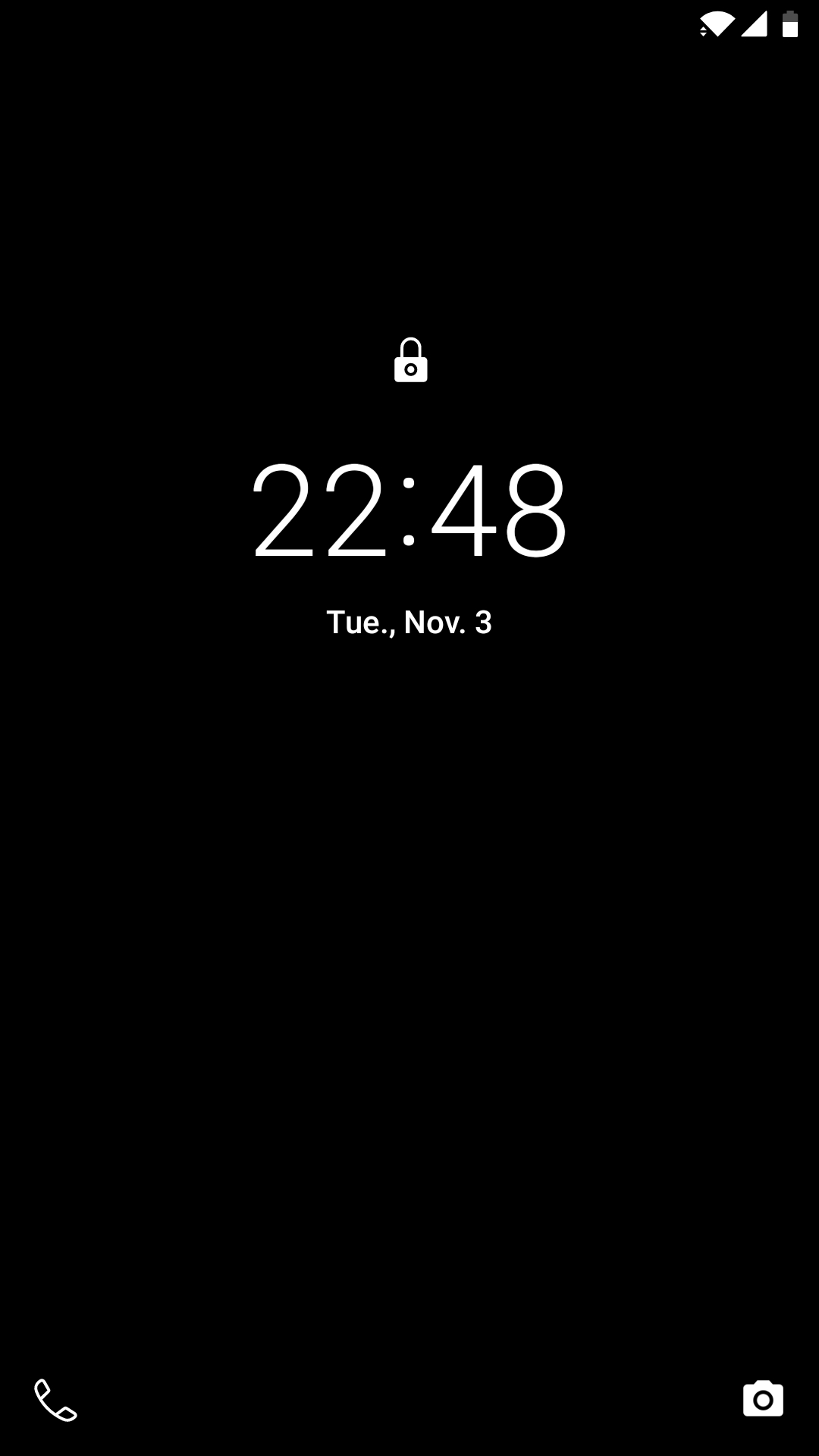 Lock screen on my Android smartphone, showing the current date and time