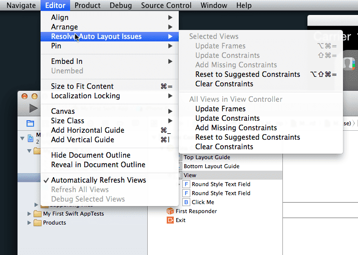 Xcode 6 - Resolve Auto Layout Menu Options