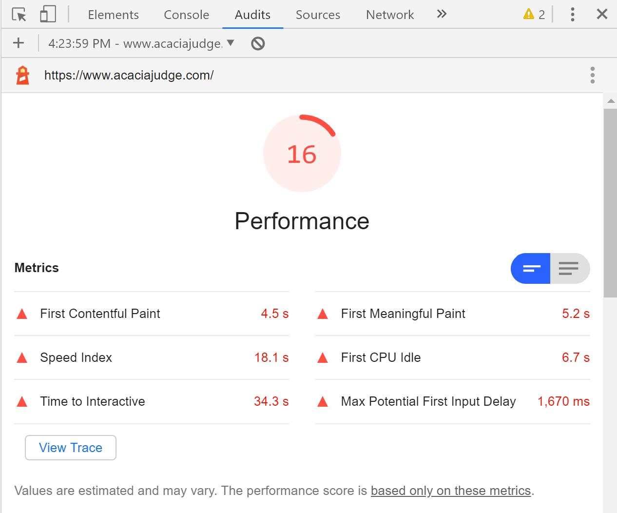 Lighthouse report for acaciajudge.com showing a performance score of 16