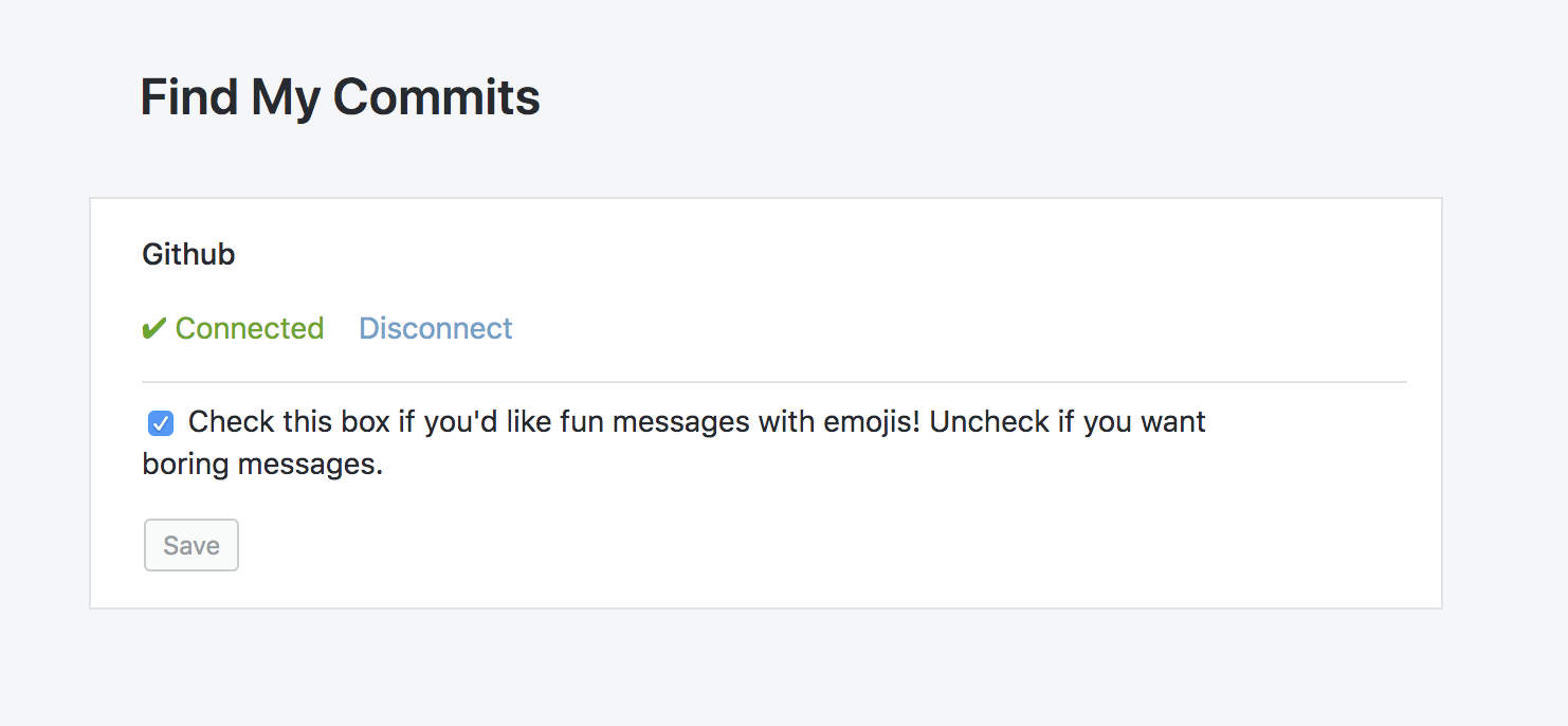 Find my commits settings page