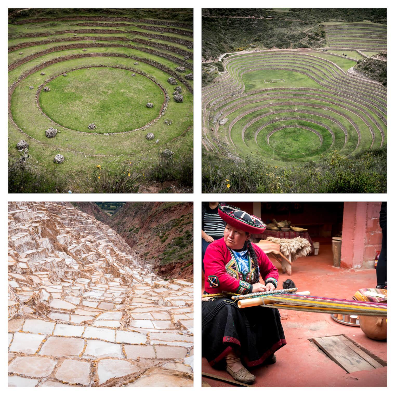 4 Fotos: Duas com construções circulares com grama ao redor e em diferentes alturas. Na esquerda inferior, uma salina com vários tanques de sal. Na direita inferior, uma mulher tecendo com a lã.