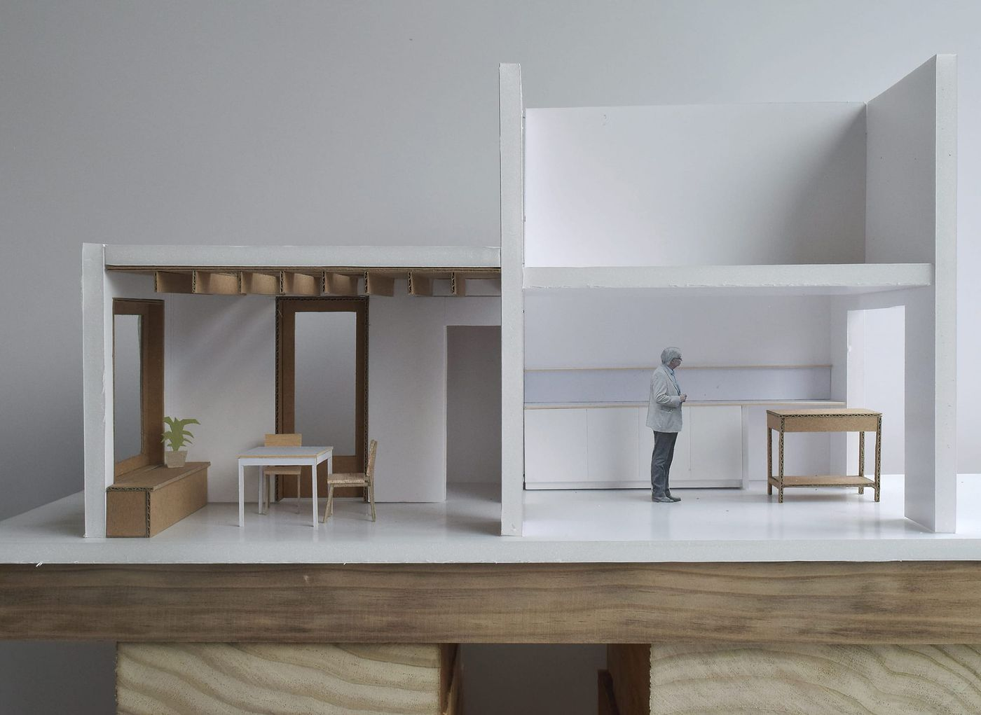 Architectural model photograph of an interior kitchen refurbishment and rear dining room extension in London designed by From Works.