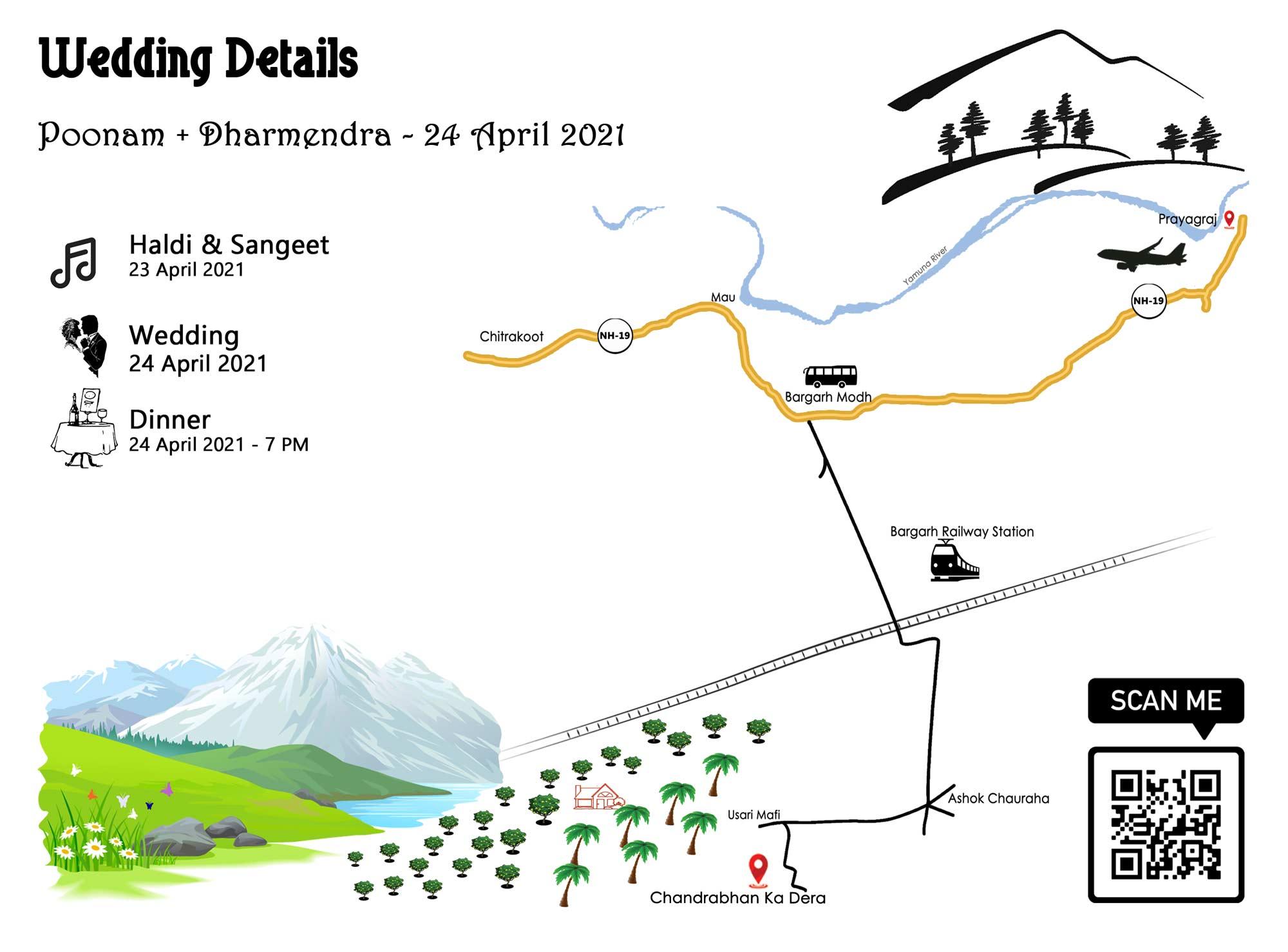 Wedding card psd map design: DIY