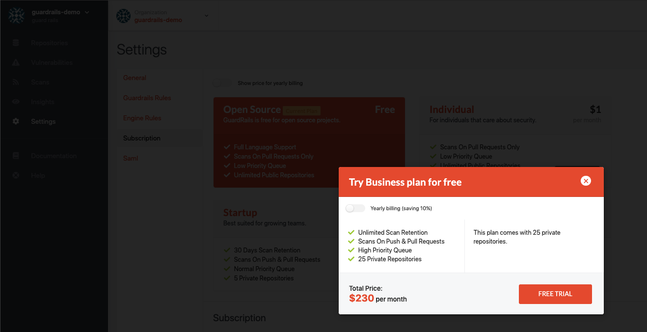 Select Business Plan Trial
