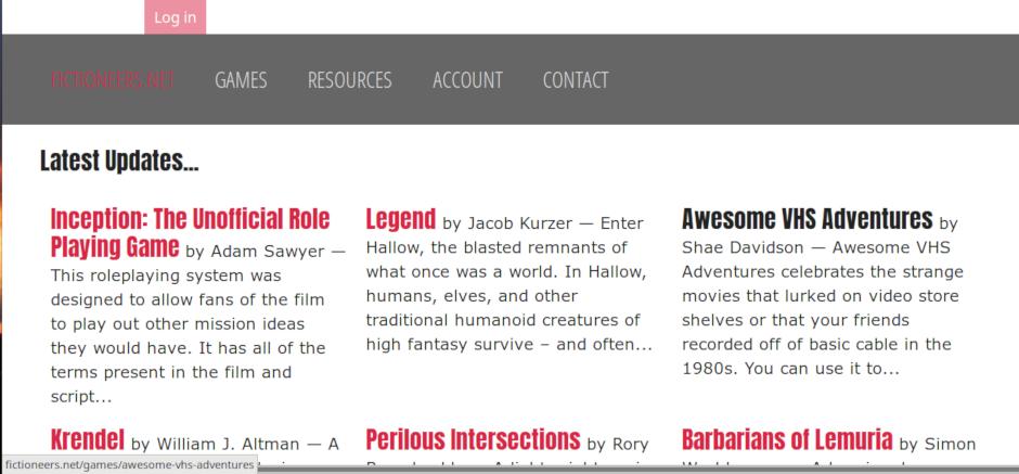 Screenshot der Startseite von '_Fictioneers_.net'