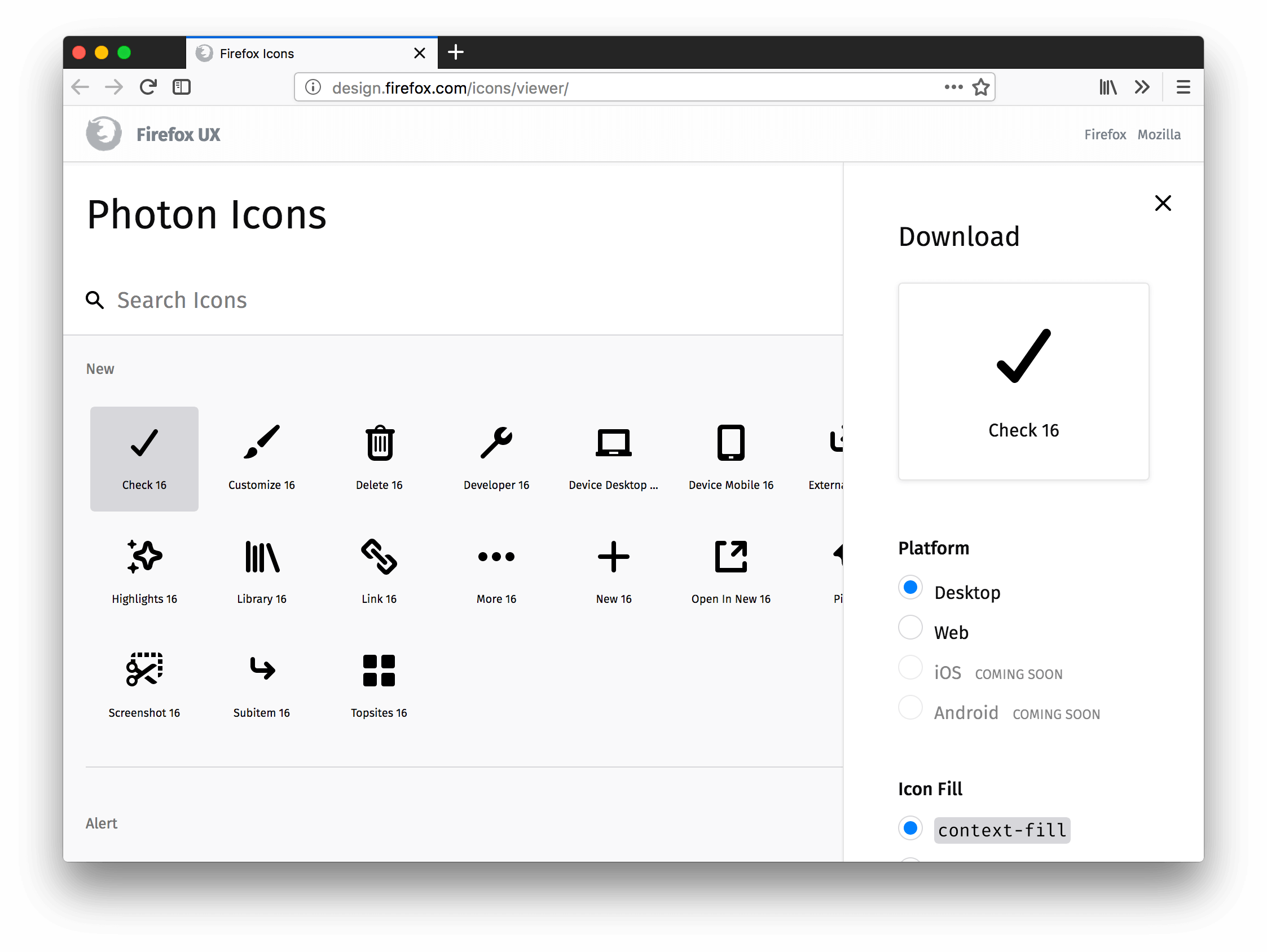 Icon Library Screenshot