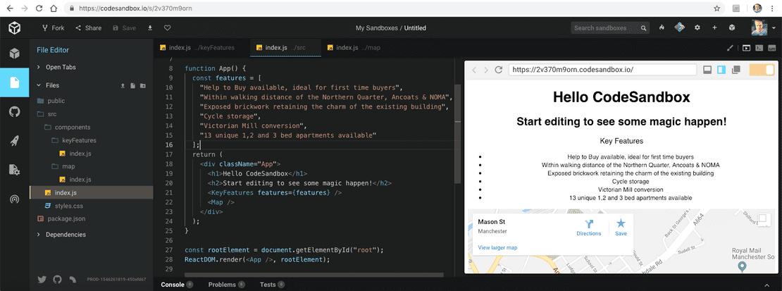 CodeSandbox Key Features Component