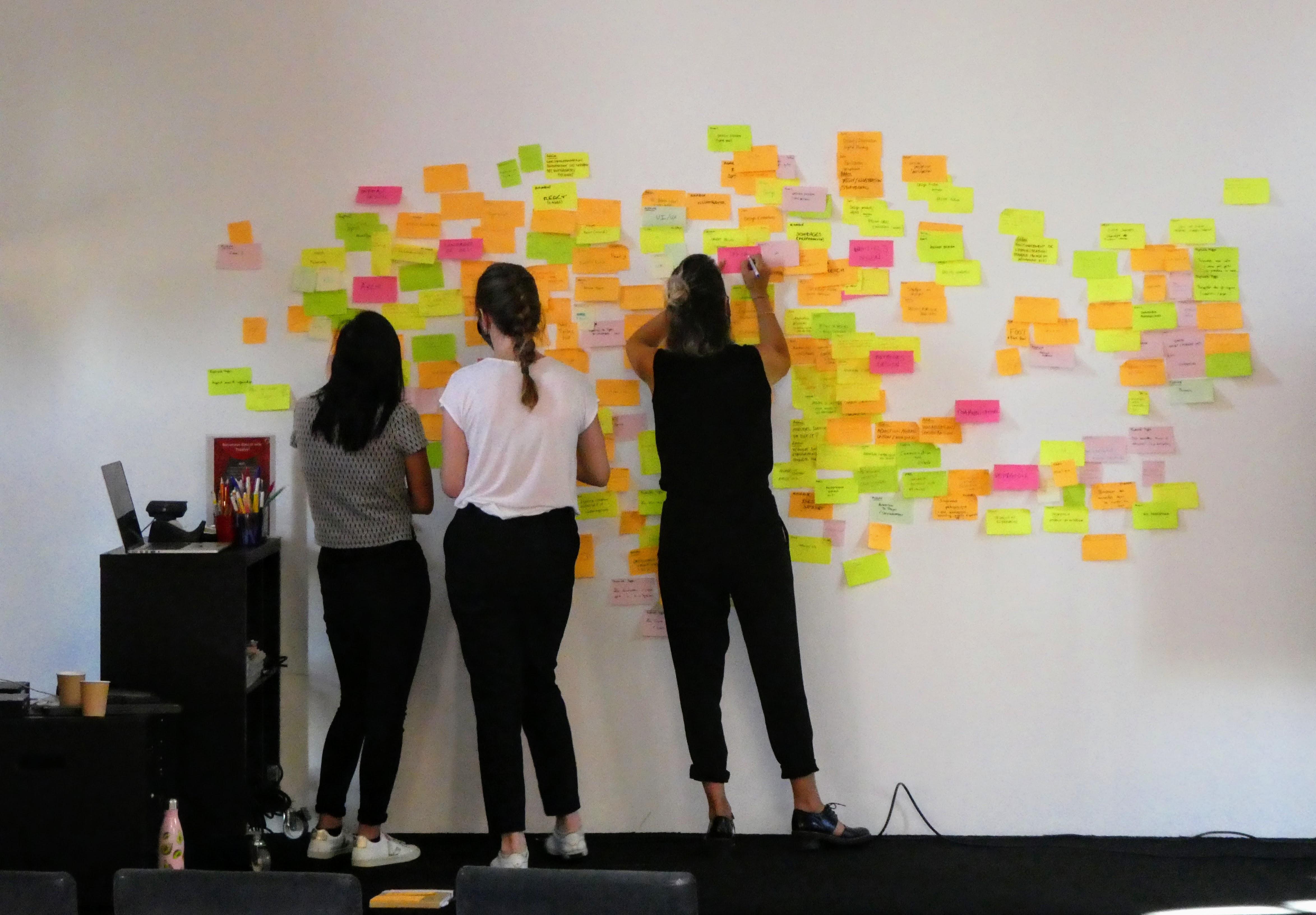 Un mur blanc est couvert de post-its de quatre couleurs différentes. Trois personnes lui font face. Une personne écrit sur un post-it rose