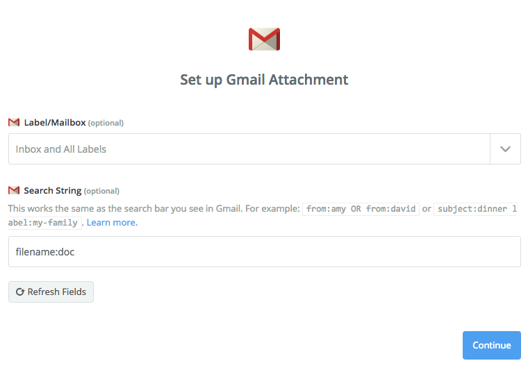 Setup for Gmail attachment trigger