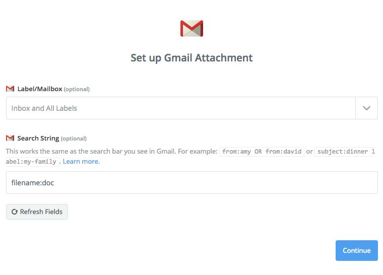 Setup for Gmail attachment trigger