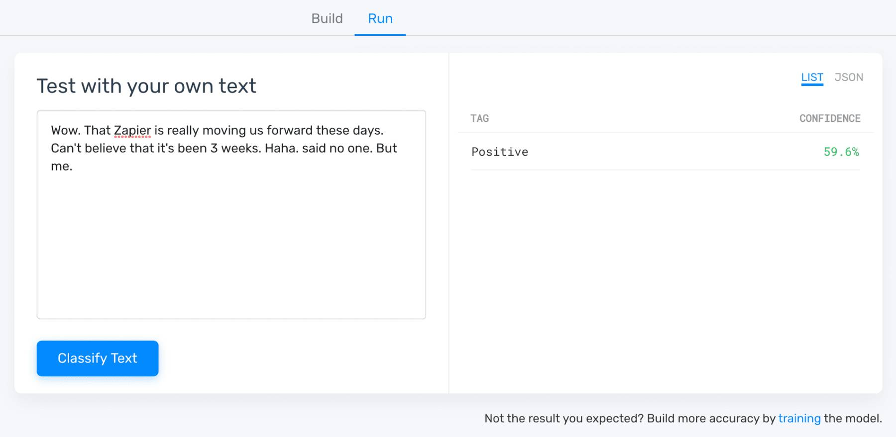 Step six in MonkeyLearn's model creation app: testing with your own data