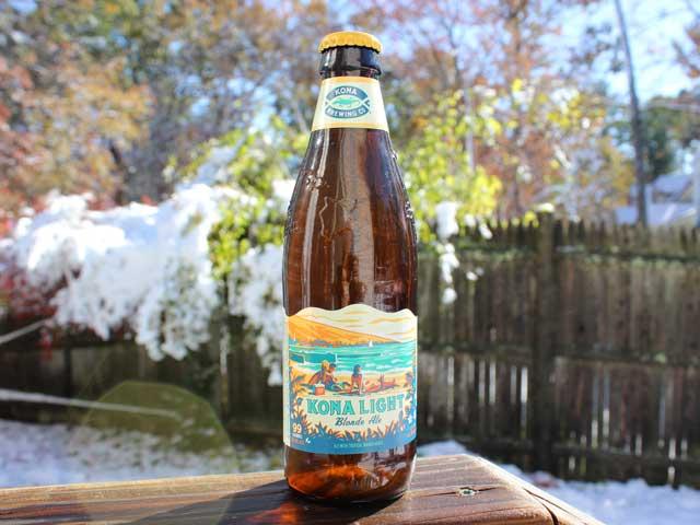 Kona Light, a Blonde Ale brewed with tropical mango by Kona Brewing Company