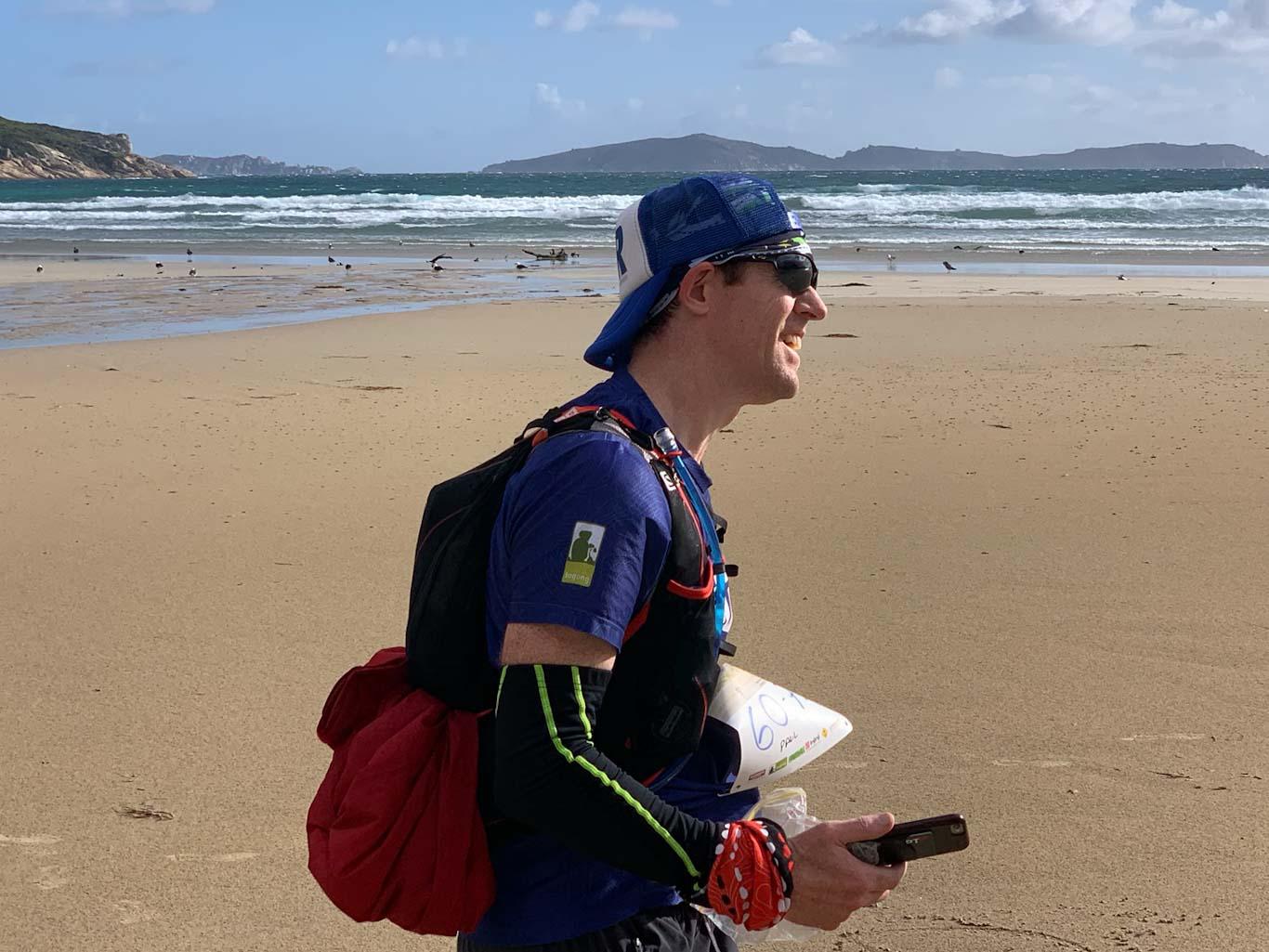 Superstar runner Paul on Norman Beach, still smiling despite my grumpiness!