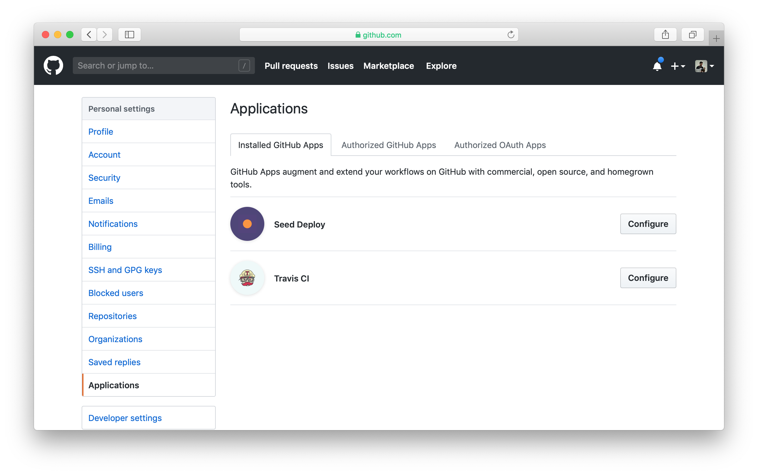 Application settings for personal GitHub account