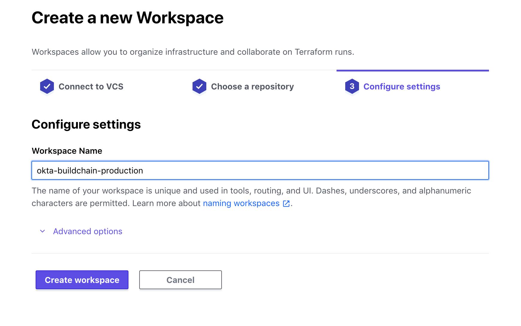 Terraform Cloud name workspace