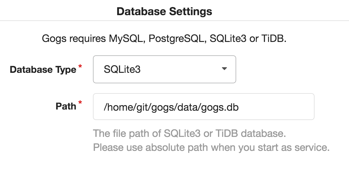 Gogs database settings