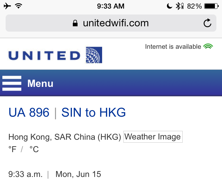 United WiFi available