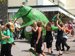 green monster in the penzance festivals
