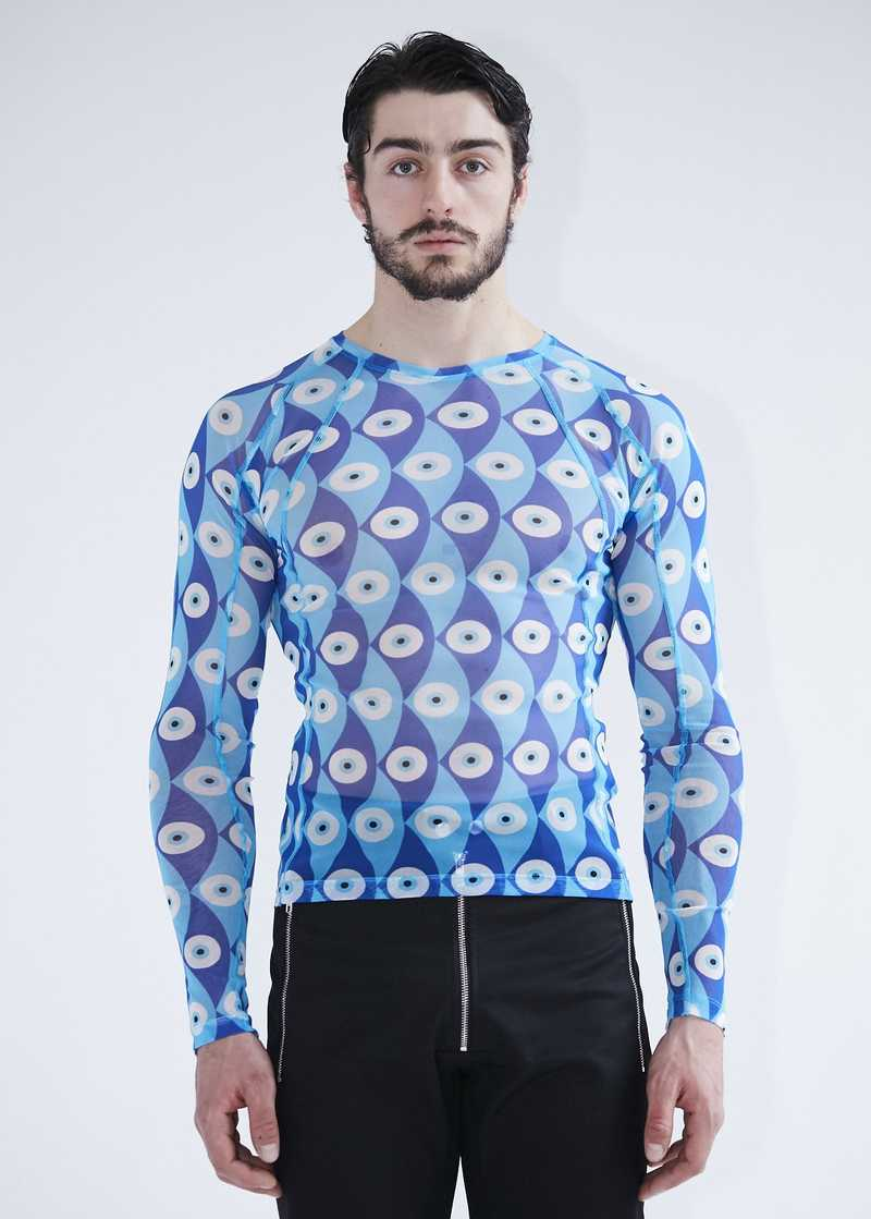 Gabriel longsleeved mesh top blue for men and women. GmbH SS20 collection.