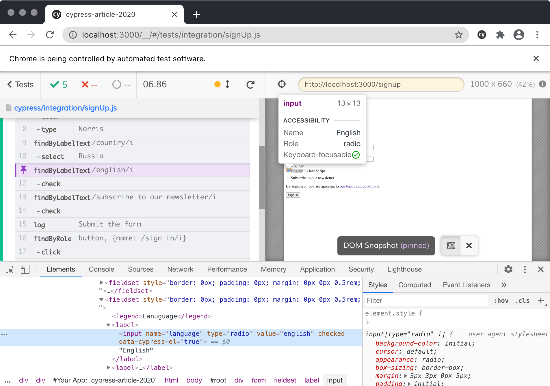 Using Chrome developer tools in Cypress