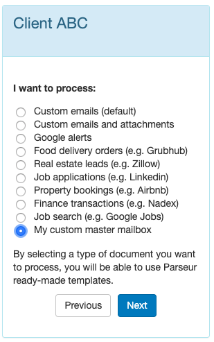 When creating a new mailbox, your master mailbox will be listed