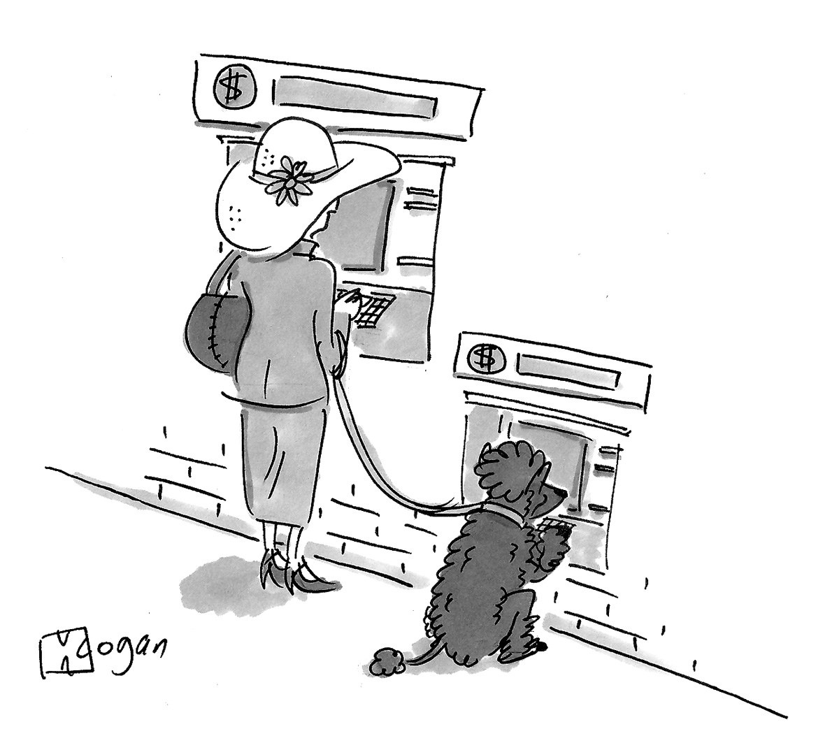 (A dog uses an ATM alongside its owner.)