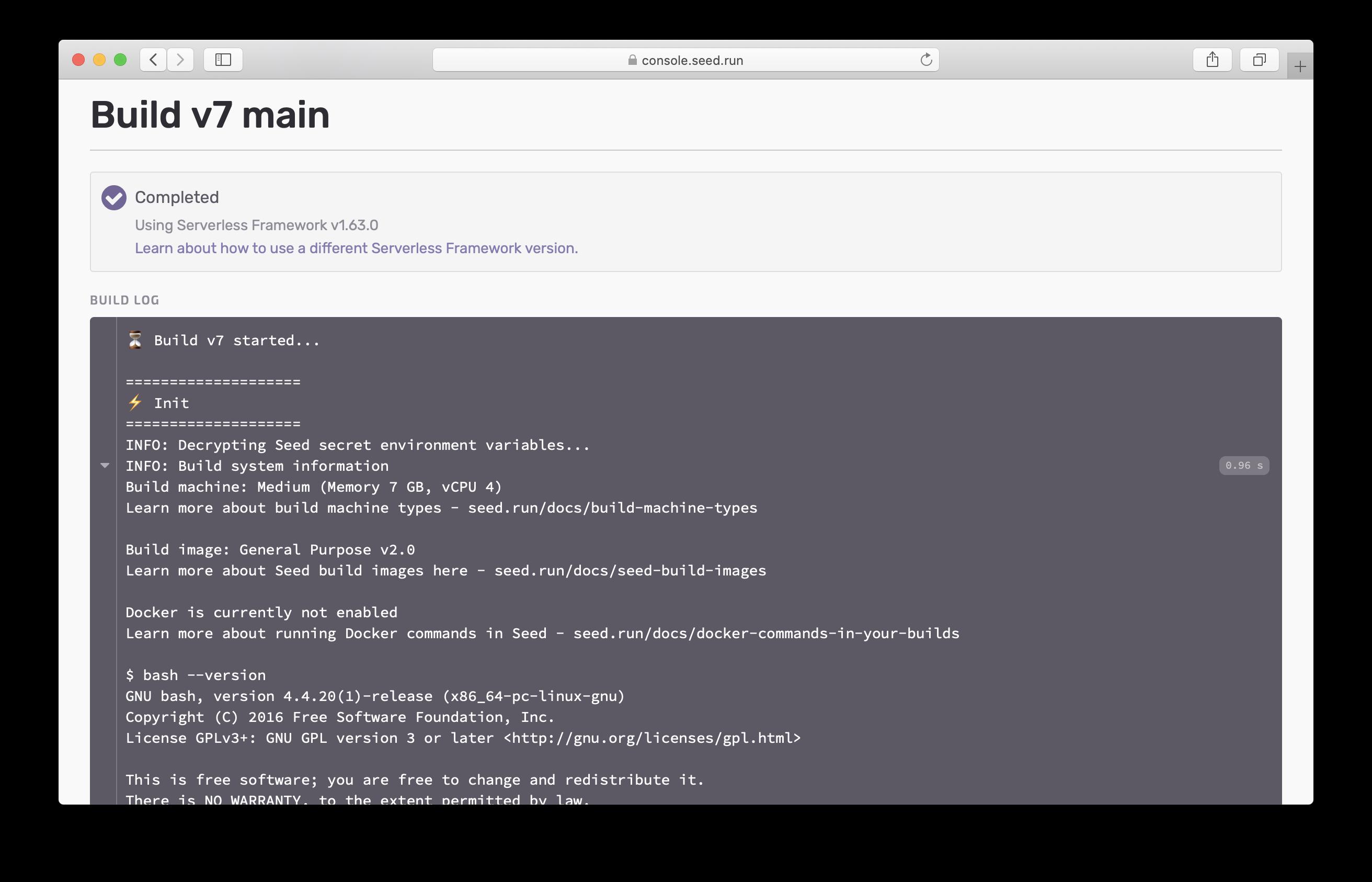 Build image info in build logs