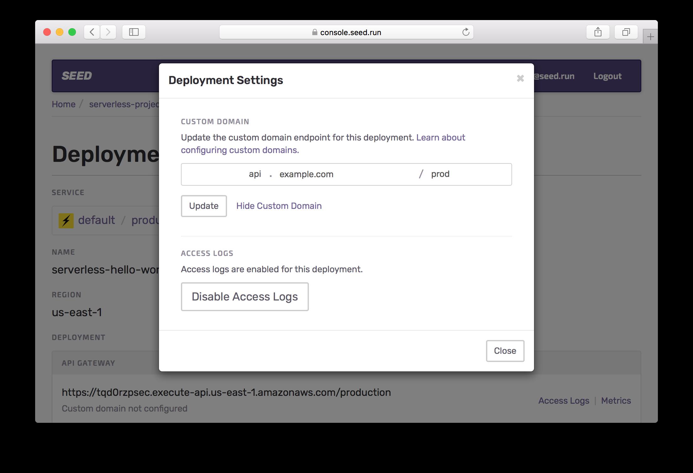 Configure Custom Domain parts Screenshot