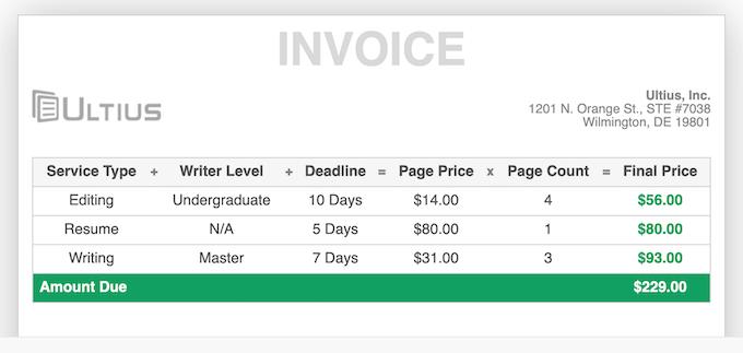 ultius.com invoice sample