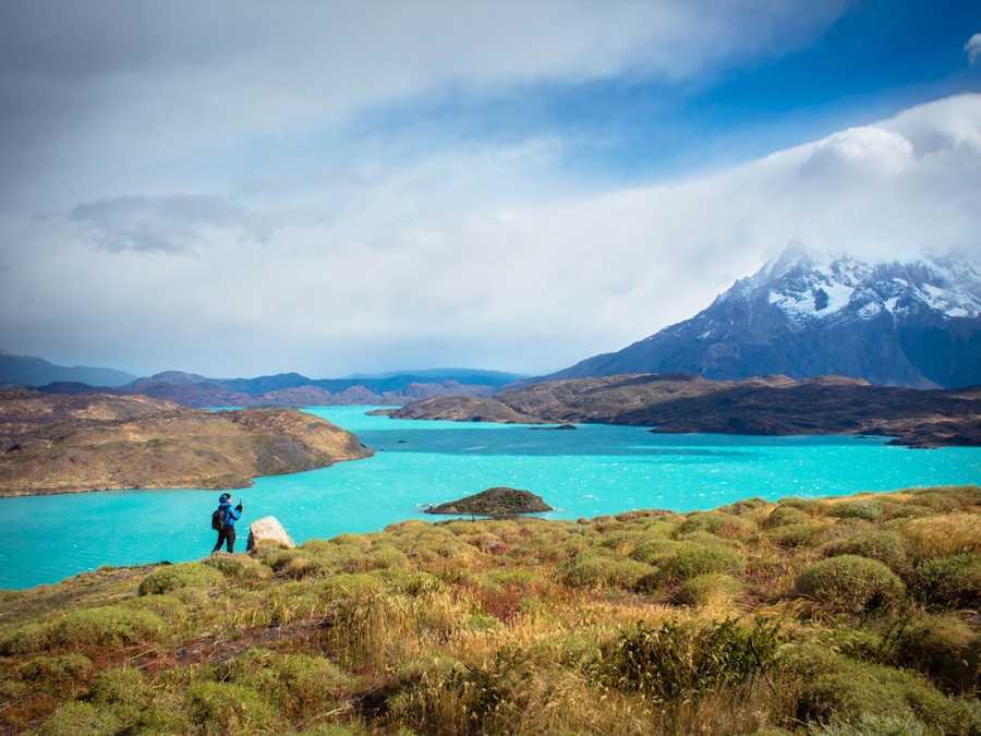 Our camping spot in Torres Del Paine by Lake Pehoe. These colors are real!