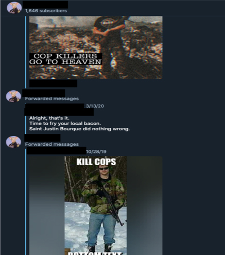 Propaganda and Messages from another popular anti-government neo-Nazi telegram group, situating Lemp's killing within the larger narrative of struggle against the 'New World Order' or 'Zionist Occupation Government.' Propaganda features Justin Bourque, the Moncton, Canada shooter who killed three RCMP officers and injured two in 2014.