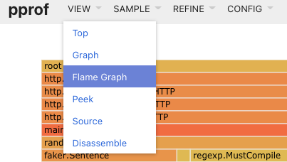 navigating to the flame graph
