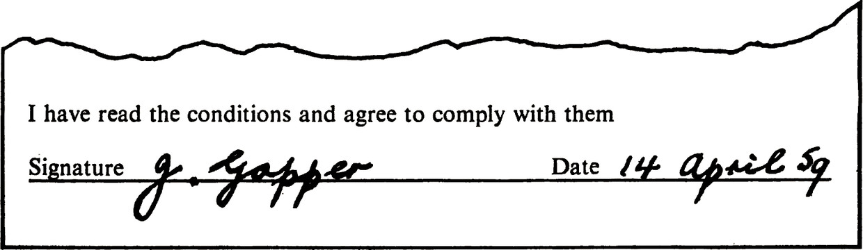 Extract with title: I have read the conditions and agree to comply with them Signature field: (Handwritten) g.gopper. Date field: (Handwritten) 14 april 59.