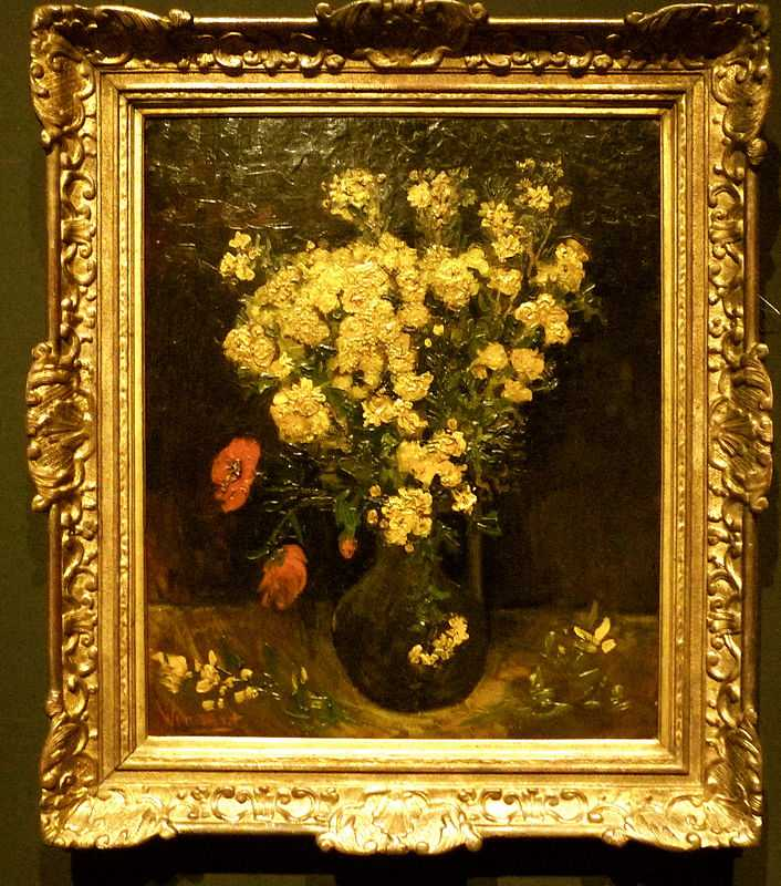 A photo of Poppy Flowers (also known as Vase And Flowers and Vase with Viscaria) by Van Gogh at the Mohamed Mahmoud Khalil Museum in Cairo before it was stolen in August 2010