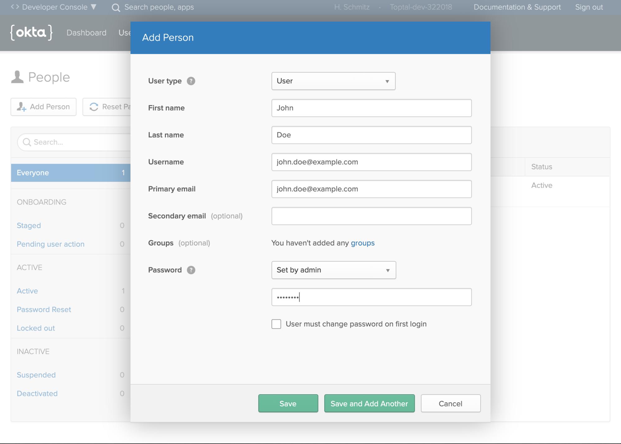 Creating a user profile on Okta
