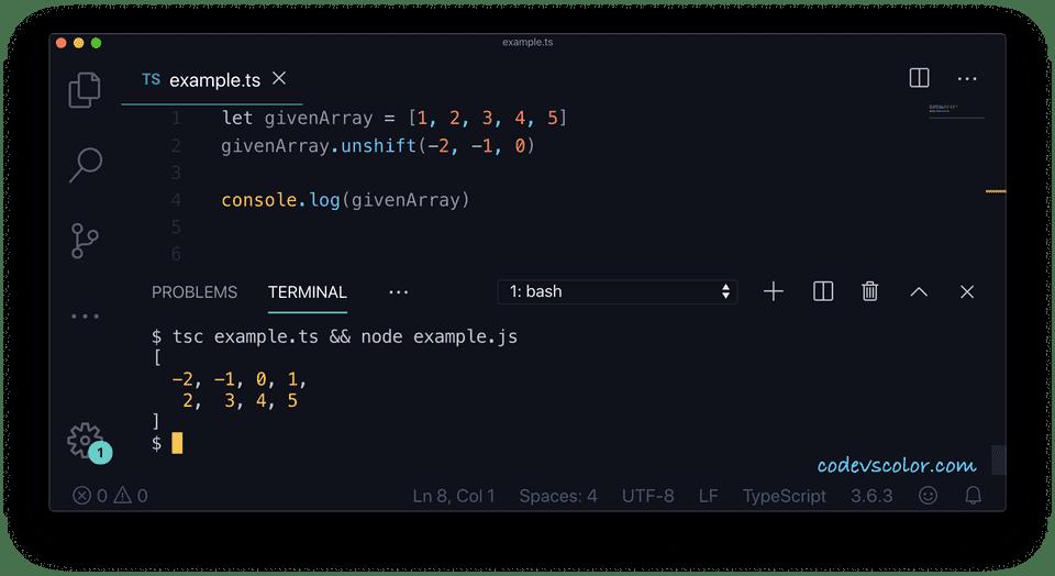 TypeScript array add elements unshift