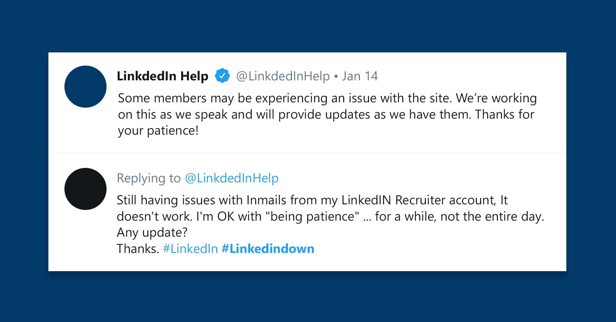 Tweets about LinkedIn downtime