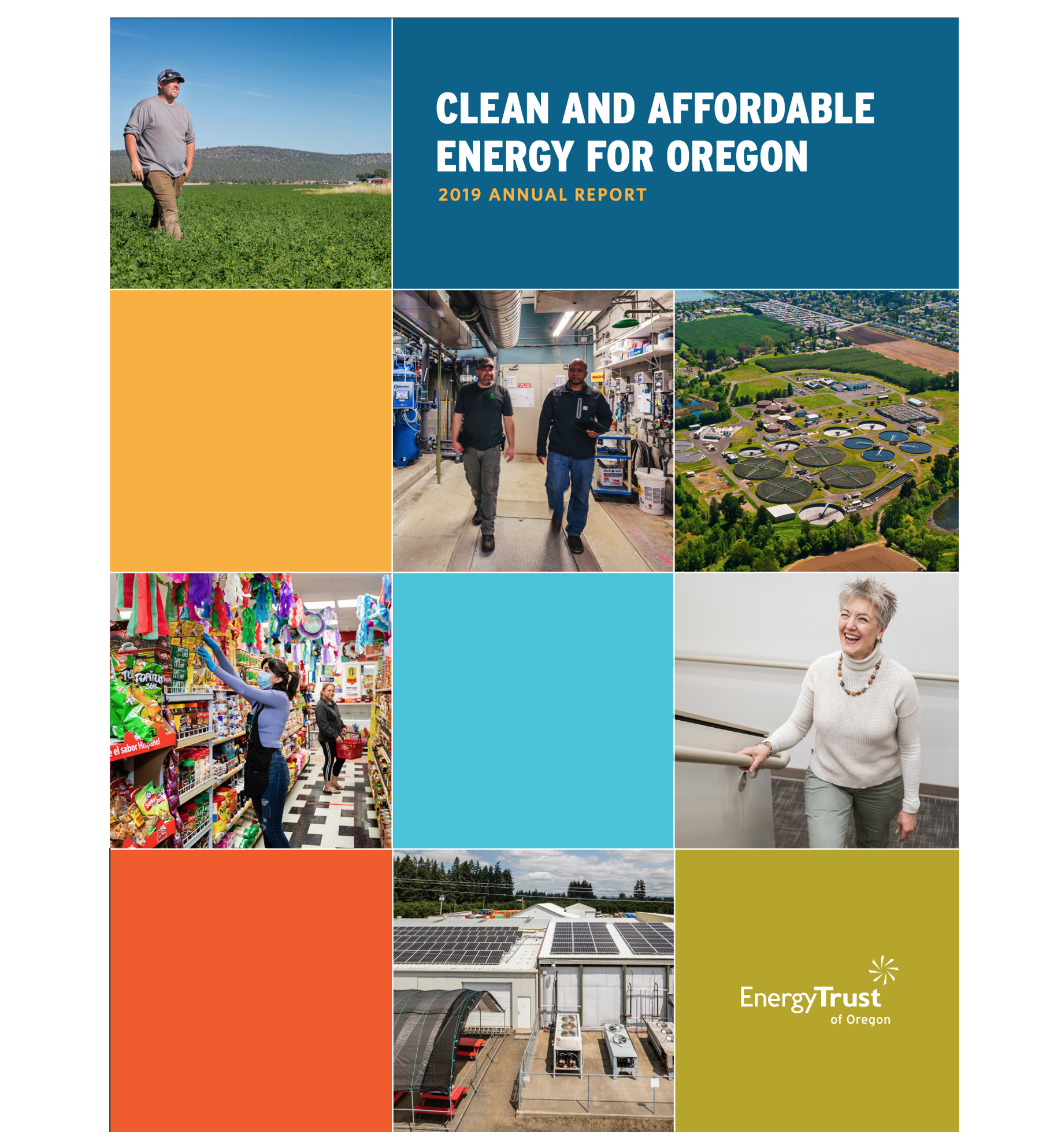 Screen shot of the annual report in print, grid of squares on a page with people's faces alternating with text calling out what energy trust does.