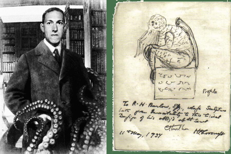 Слева — Говард Лавкрафт, справа — нарисованный имКтулху (1934). Источник: Wikimedia Commons