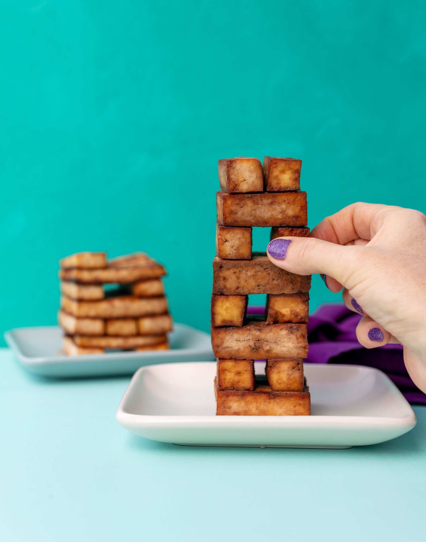 tofu stacked to look like jenga