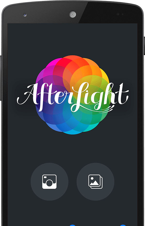 A screenshot of the splash screen of the Afterlight for Android app