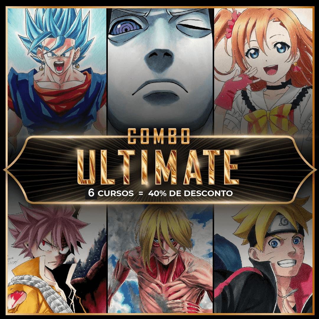 Imagem com o título de combo ultimate e vários personagens de anime ao funto