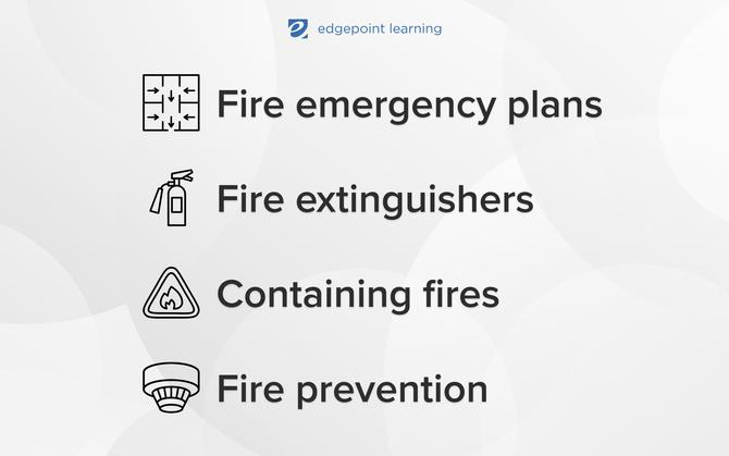 Fire emergency plans, Fire extinguishers, Containing fires, Fire prevention