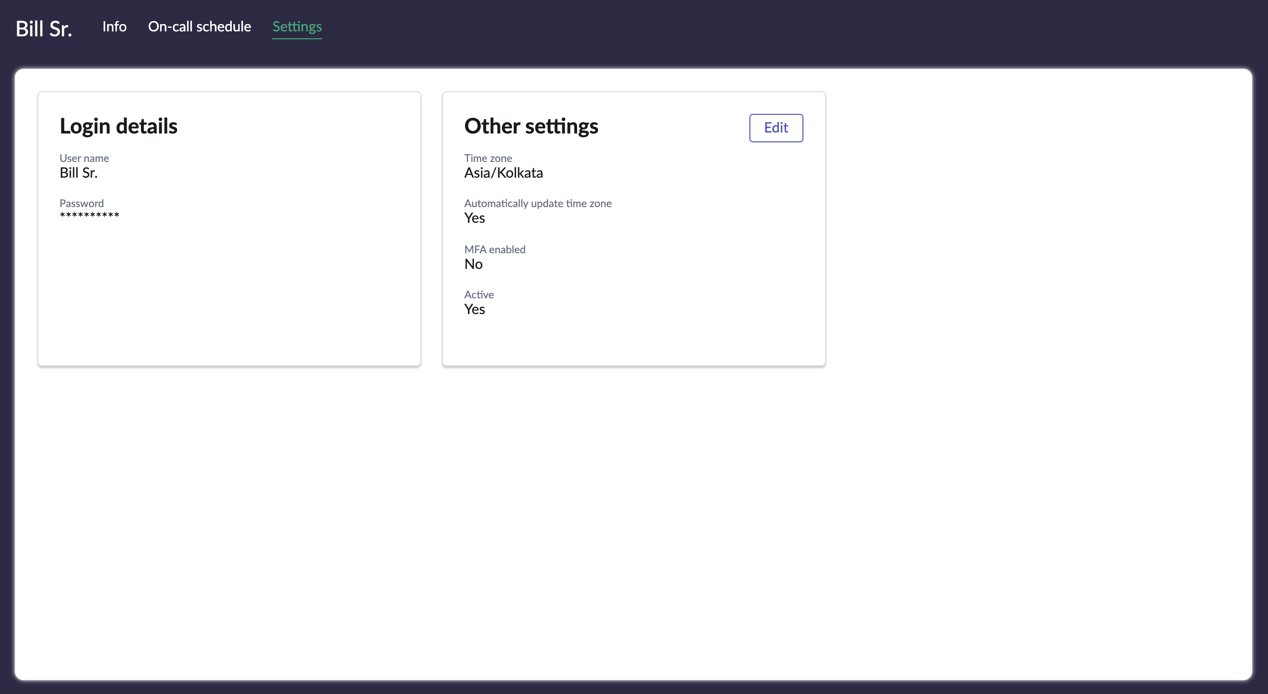 The Settings page.