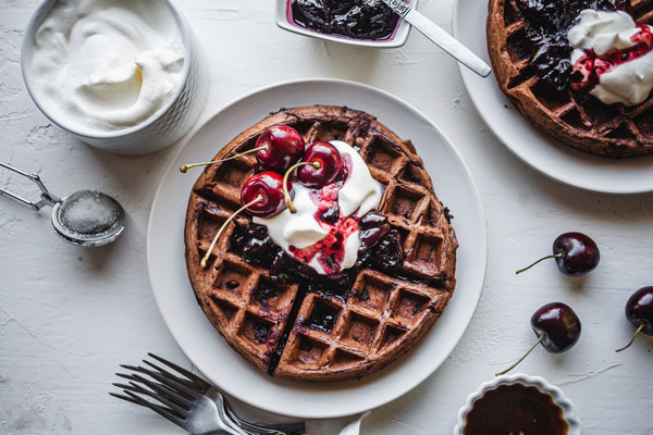 Dark Chocolate Waffles With Cherry Balsamic Compote