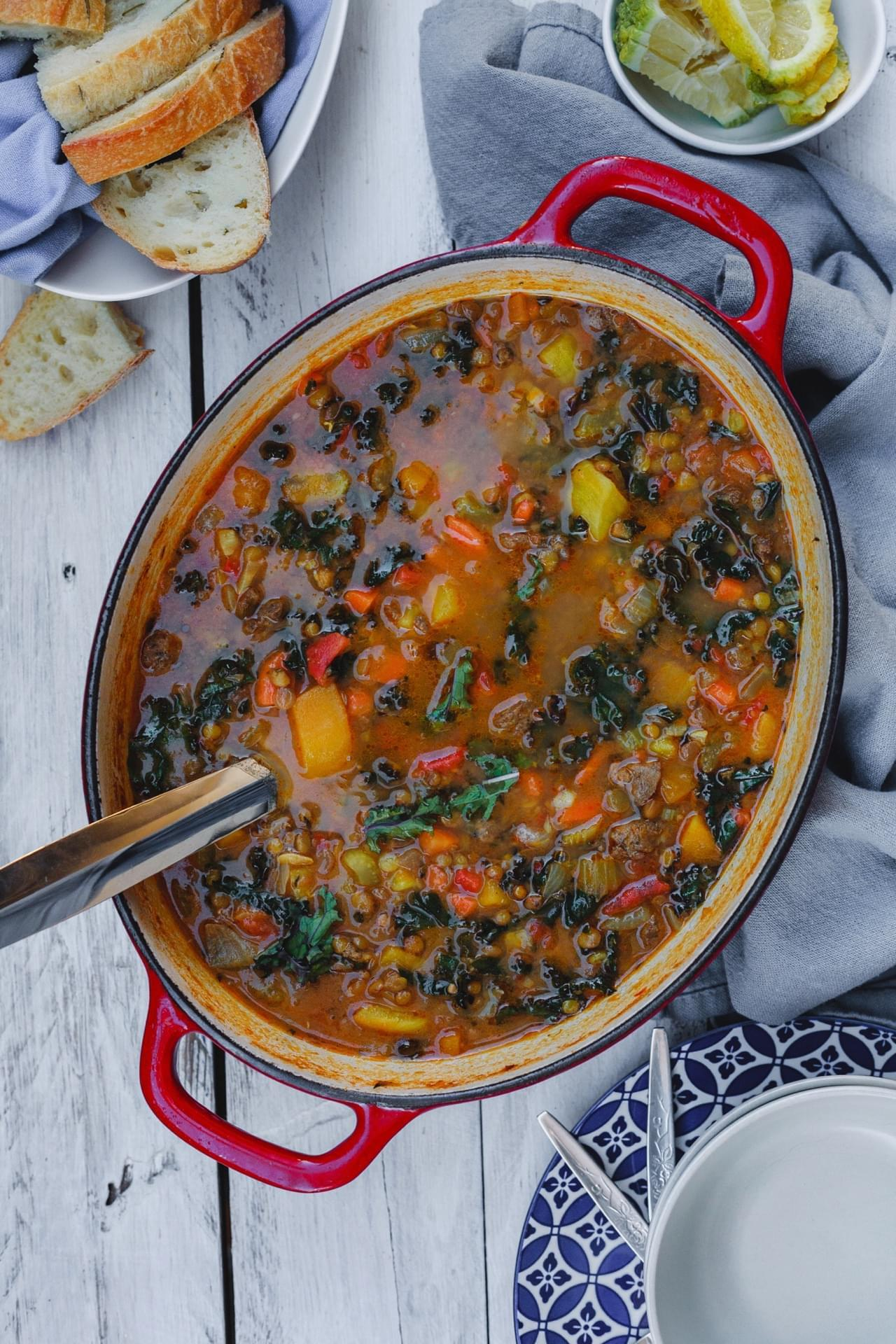Cumin Spiced Lentils With Sausage And Kale