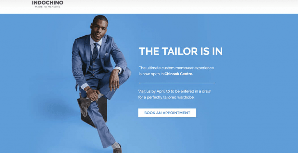 Indochina tailor landing page