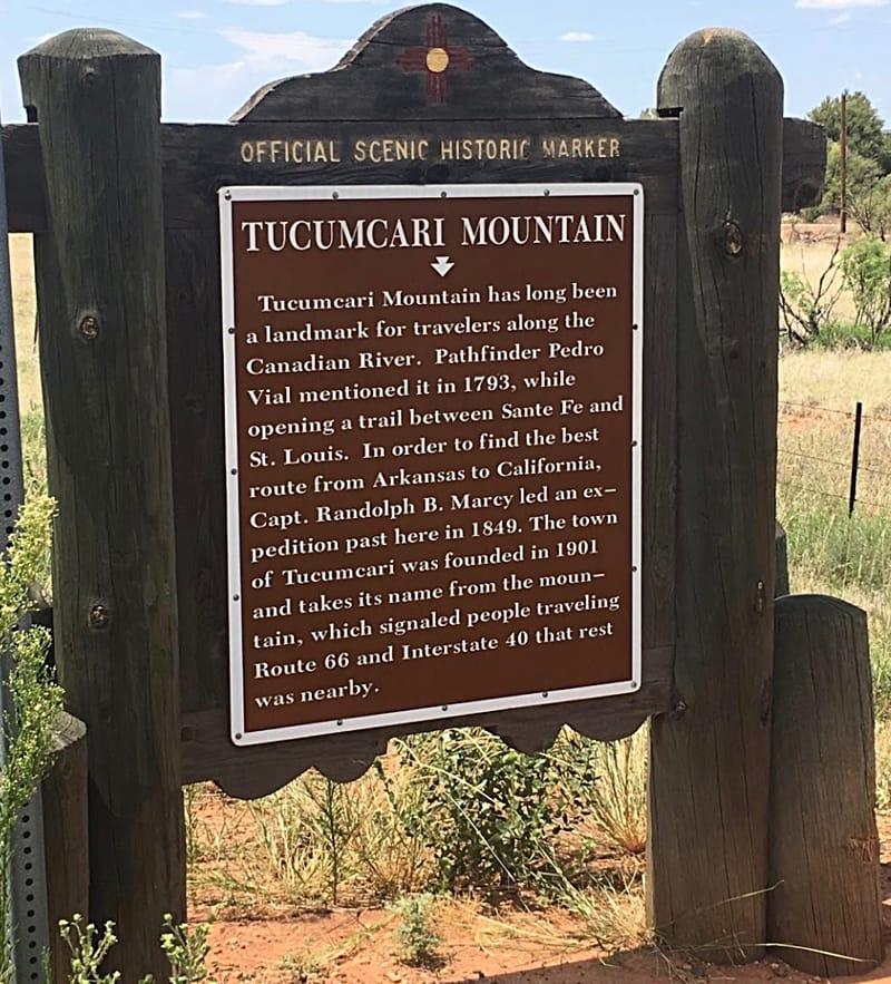 Tucumcari Mountain historical marker